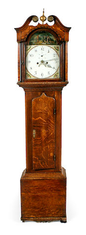 A late George III oak tall case clock