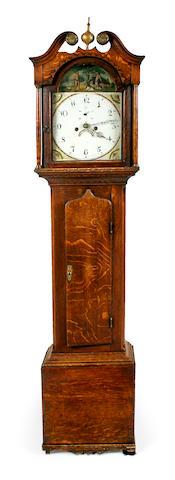 A late George III oak tall case clock