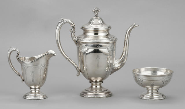 Sterling Louis XIV Five Piece Tea and Coffee Set by Towle