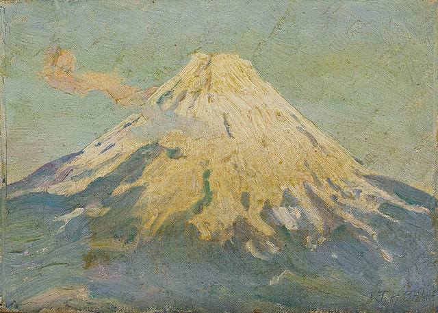 Joseph Henry Sharp (American, 1859-1953) The Sphinx and the Pyramid of the Chiefs, 1914; The Pyramids of Giza, 1914; Snow-capped mountain (group of three) each 6 1/4 x 8 3/4in each unframed