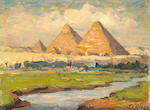 (n/a) Joseph Henry Sharp (American, 1859-1953) The Sphinx and the Pyramid of the Chiefs, 1914; The Pyramids of Giza, 1914; Snow-capped mountain (group of three) each 6 1/4 x 8 3/4in each unframed