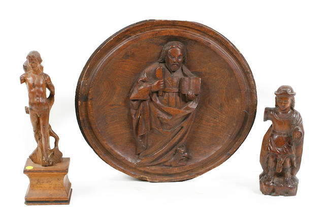 A group of three Italian carved wood articles
