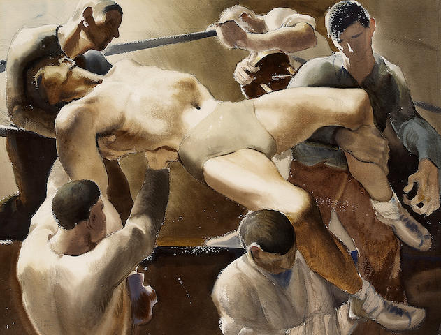 Paul Hull Julian (American, 1914-1995) Boxing match, 1937 22 x 28in