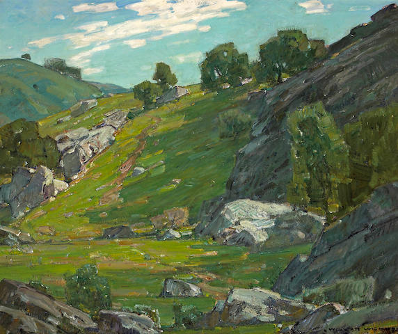 (n/a) William Wendt (American, 1865-1946) The cow trail 30 x 36in