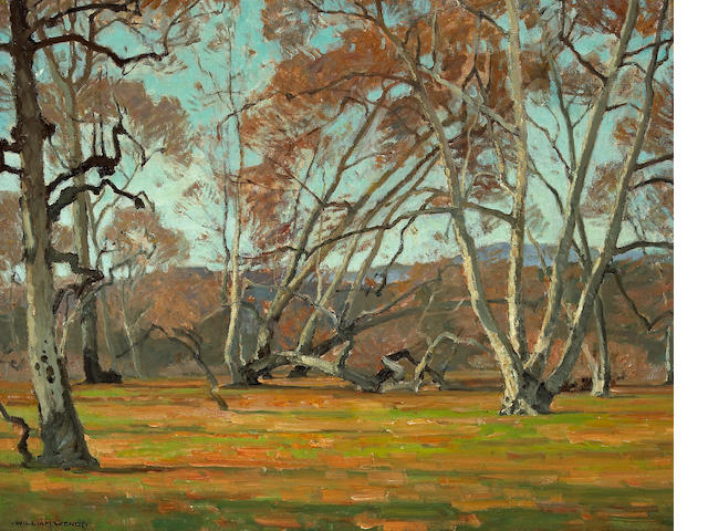 William Wendt (American, 1865-1946) Sycamores and wild flowers, believed to be Irvine Park 30 x 36in
