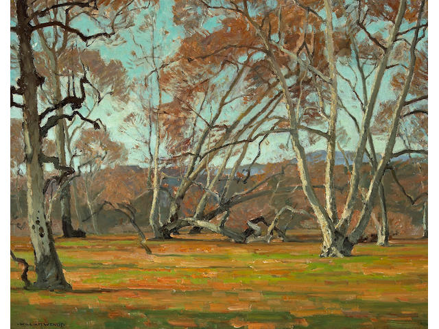 (n/a) William Wendt (American, 1865-1946) Sycamores and wild flowers, believed to be Irvine Park 30 x 36in