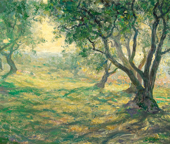 Guy Rose (American, 1867-1925) In the olive orchard (Provençal olive orchard) 15 x 18in