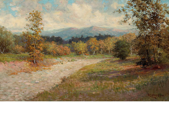 William Lees Judson (American, 1842-1928) In the foothills in fall 15 x 25in