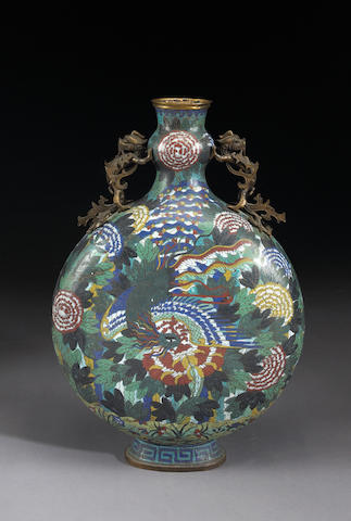 A large cloisonné enameled metal moon flask 19th Century