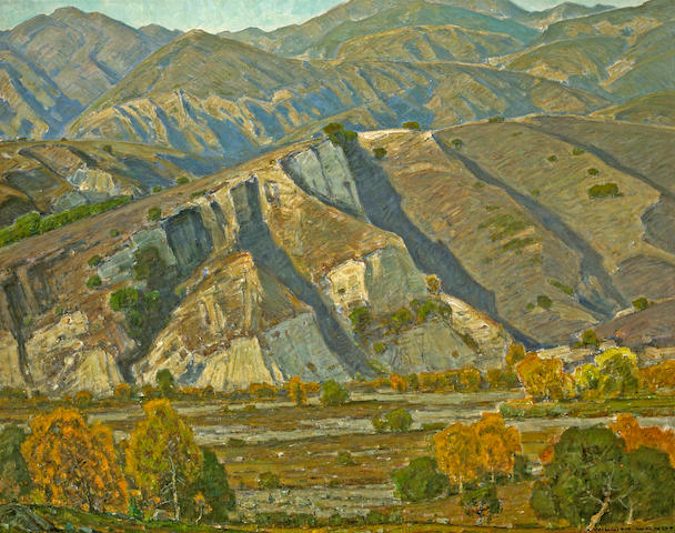 William Wendt (American, 1865-1946) At the base of the mountains 40 x 50in