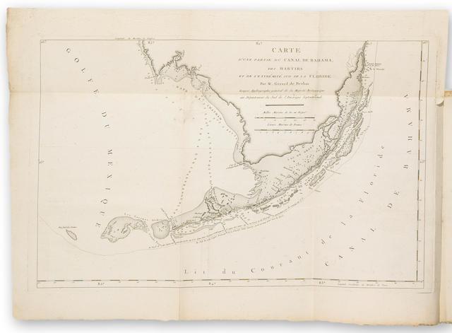 DE BRAHM, WILLIAM GERALD. 1717-1799. Recherches faites par ordre de sa Majesté Britannique, depuis 1765 jusqu'en 1771, pour rectifier les cartes & perfectionner la navigation du Canal de Bahama. [No place: c.1772.]