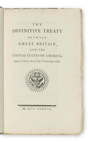 <U>SUPERB COPY OF THE TREATY OF PARIS.</U> The Definitive Treaty between Great Britain, and the United States of America, Signed at Paris, the 3d day of September 1783. [Paris: Philip Denis Pierres for Benjamin Franklin, September 1783.]