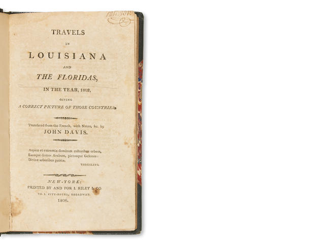 158	1806	1806	Davis, John	Travels in Louisiana and the Floridas, in the year 1802, giving a correct picture of those countries	New York	1993	 $1,500 	WR/auction Inv. 17658