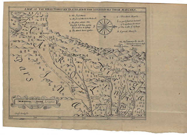 LEDERER, JOHN. The Discoveries of John Lederer, in three several Marches from Virginia, To the West of Carolina, And other parts of the Continent: Begun in March 1669, and ended in September 1670. London: J.C. for Samuel Heyrick, 1672.
