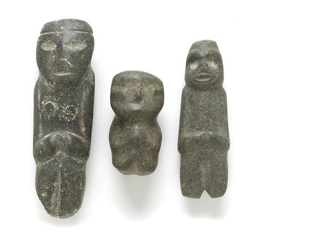Three Mezcala stone figures