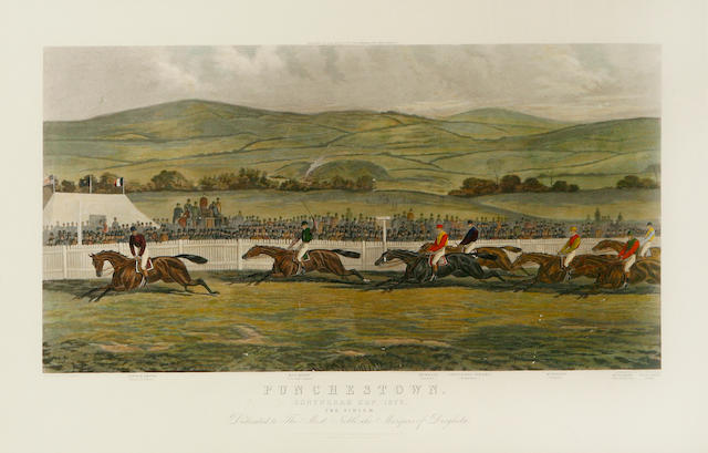 A set of four colored steeplechase engravings, after J. Sturgis, engraved by EG Hester, Punchestown