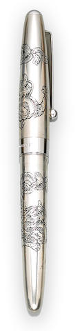 NAMIKI: Sterling Silver Double Dragon Fountain Pen