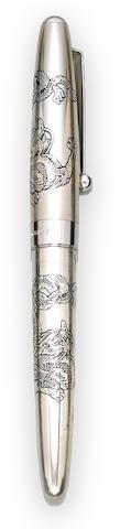 NAMIKI: Sterling Silver Double Dragon Fountain Pen