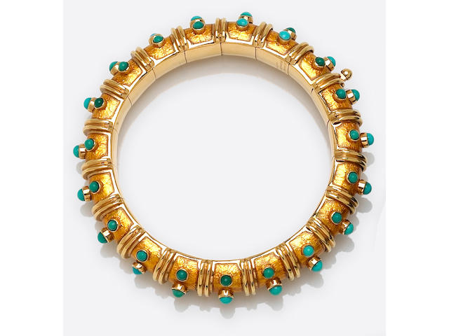 A turquoise, yellow enamel and eighteen karat gold bangle bracelet, Schlumberger, Tiffany & Co., French