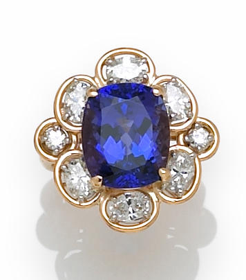 A tanzanite and diamond ring, Oscar Heyman & Brothers