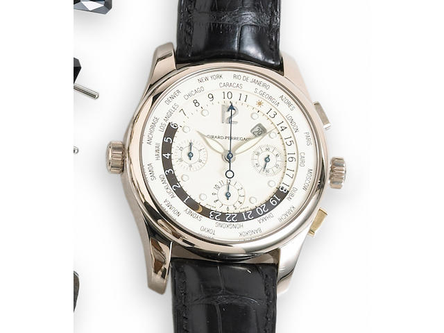 Girard Perregaux. An 18k white gold automatic world time wrist chronograph with date