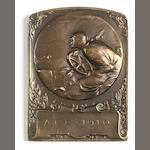 A 1910 Cannes motor racing bronze plaque by Renult,
