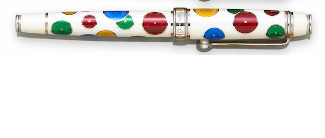 DAVID OSCARSON: White Enamel Pierrot And Pierrette Fountain Pen