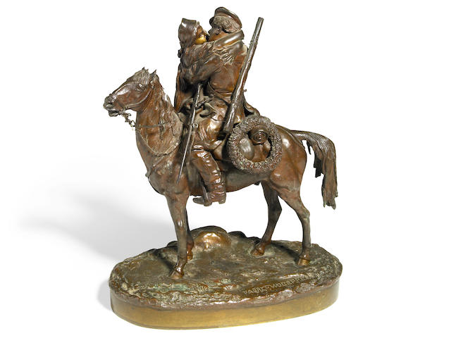 A Russian patinated bronze equestrian group <br>after the model by Vassili Grachev (Russian, 1831-1905)<br>late 19th century
