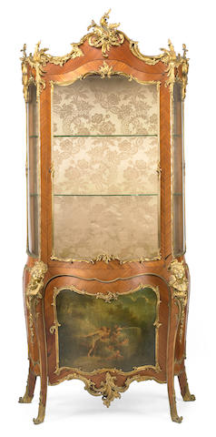 A good quality Louis XV style gilt bronze mounted kingwood vitrine  fourth quarter 19th century
