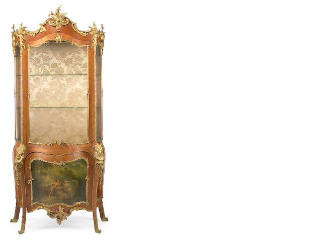 A fine Louis XV style gilt bronze mounted and paint decorated vitrine cabinet <br>fourth quarter 19th century