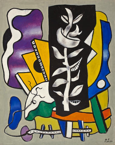 Fernand Léger  (French, 1881-1955) La branche sur fond noir, 1948 36 1/4 x 28 3/4in (92 x 73cm)