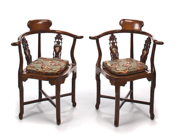 Pair of Chinese Export carved hardwood corner chairs 19th century