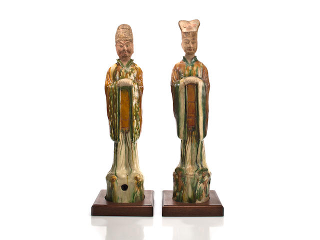 A pair of Chinese sancai glazed civil and military officials  Tang dynasty (618-907)