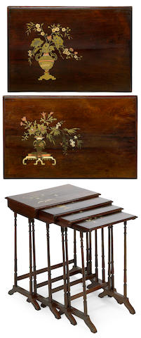 A set of four Regency style painted and gilt decorated rosewood nesting tables