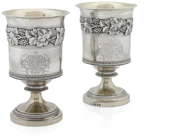 Regency silver-gilt pair of wine goblets by Emes & Barnard
