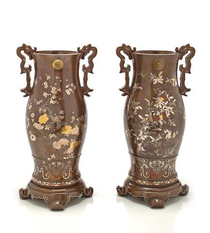 A pair of soft-metal inlaid bronze imperial presentation vases By the Kanazawa Doki Kaisha, Meiji period, late 19th century