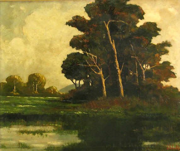 (n/a) Johann Schuld (Dutch/American, 1870-1943) Tree by a pond, 1958 31 1/2 x 41 3/4in