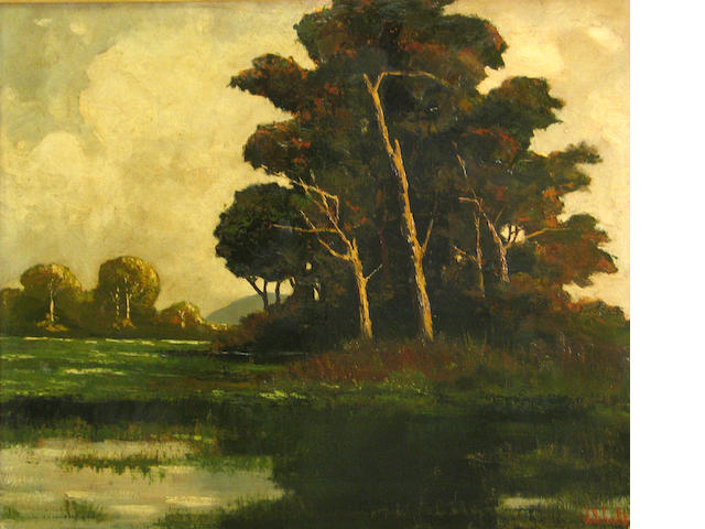Johann Schuld (Dutch/American, 1870-1943) Tree by a pond, 1958  31 1/2 x 41 3/4in