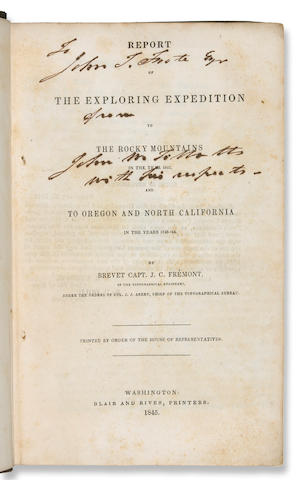 265	1845	1845	Fremont, John C.	Report of the Exploring Expedition to the Rocky Mountains in the year 1842, and to Oregon and North Carolina in the years 1843- '44. (Map in jacket)	Washington	2001	 $1,400 	Joseph Felcone