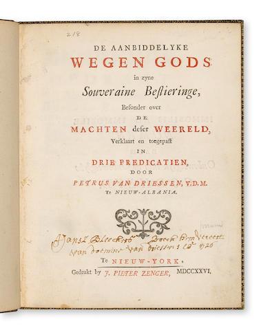 5417261726VAN DRIESSEN (PETRUS)De Aabbiddelyke Wegen Gods Te Nieuw-York2001 $15,275 Friedlaender copy, Christies 2001185