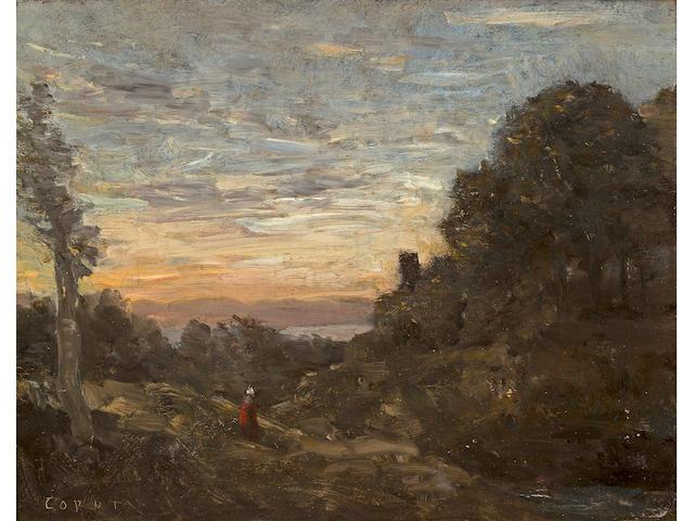 (n/a) Jean-Baptiste-Camille Corot (French, 1796-1875) La tour dans les arbres 7 3/4 x 10in (19.6 x 25.4cm)