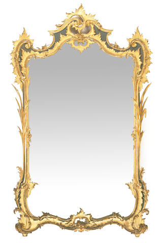 A Louis XV style carved giltwood and parcel ebonized mirror  second half 19th century