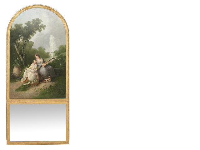 A French Louis XVI style trumeau mirror