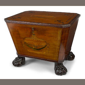 A Regency inlaid mahogany cellarette
