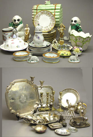 A large assembled grouping of decorative arts and six pictures