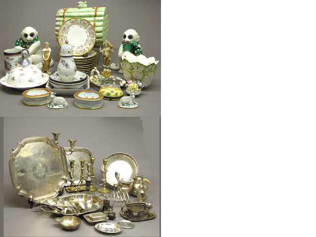 An assembled grouping of decorative arts and six pictures