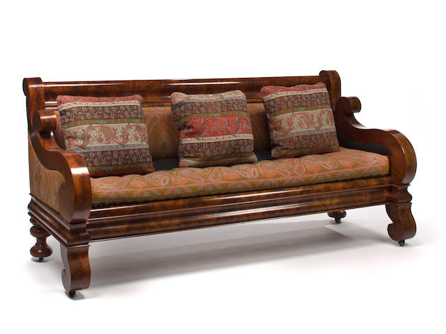 A Restauration mahogany sofa Attributed to John and Joseph Meeks, New York, circa 1840