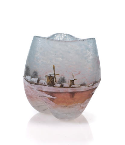 A  Daum Nancy enameled cameo glass winter landscape cabinet vase circa 1900