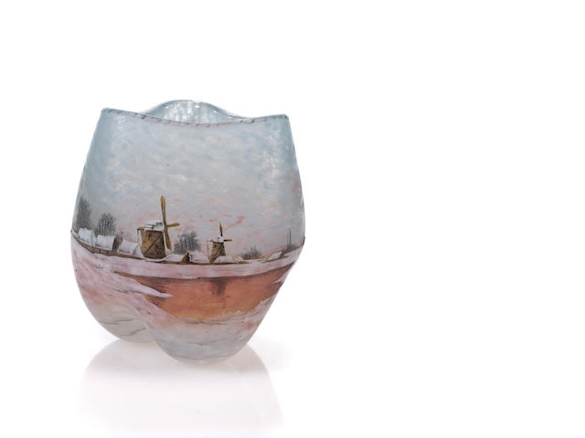 A Daum Nancy cameo glass bowl; height 3 1/2 inches