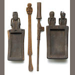 Four Tihuanaco figural snuff implements